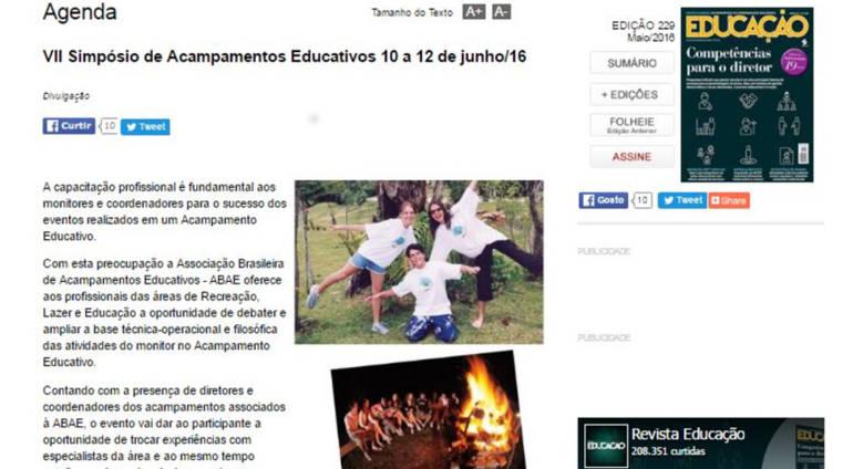 Revista Educação divulga o VII Simpósio de Acampamentos Educativos